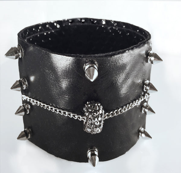 Leather Cuff with Rhinestone Skull Head