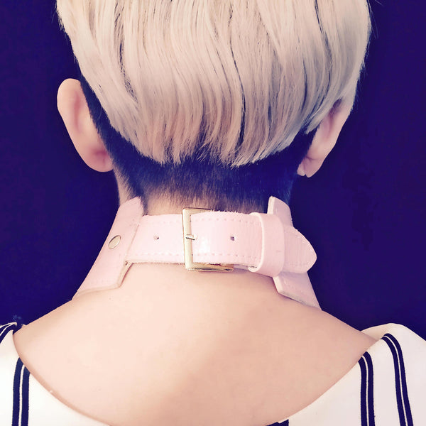 Pink Leather Choker Collar