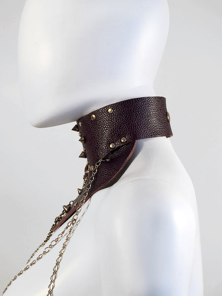 Leather Posture Collar with Spikes
