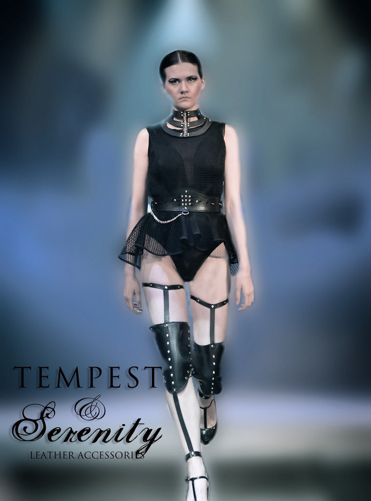 Leather Thigh High Garter with Knee Pads