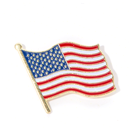 Waving USA Flag Lapel Pin