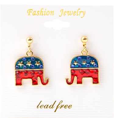 Rhinestone embellished elephant dangle earrings