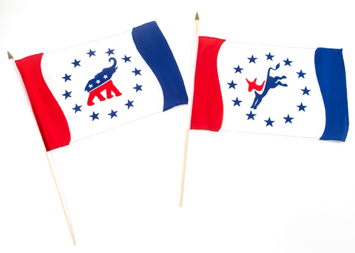 "Democrat 12"" x 18"", political party flag, printed onto quality polyester fabric and sewn around the all edges, mount them to a 24 inch spear stick tip"