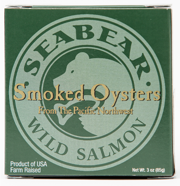 Canned, sweet, succulent, plump and delicious, light alder wood-smoked pacific oysters, 3 oz. canned individually boxed