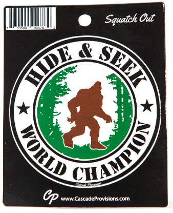 Bigfoot Hide and Seek Sticker, 3.75 inch round sticker