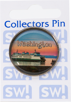 Ferry, round, 30mm collectors pin