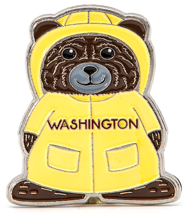 Bear in Raincoat Magnet bear is ready for Washington weather.  2 x 2.5 inches