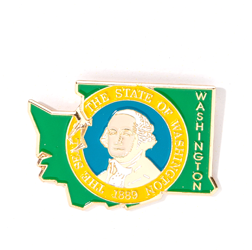 State Seal in Washington Outline Pin