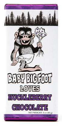 Solid Milk Chocolate Huckleberry Bar, Hand wrapped in a Baby Bigfoot wrapper, 3oz.
