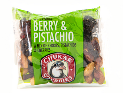 Berry & Pistachio 1.85oz: Snack size favorite with Bings, Rainiers, Organic Tart cherries and pistachios.  1.85oz.
