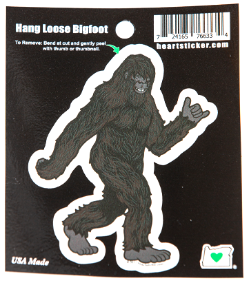 Bigfoot Hang Loose Sticker, approximately 3 x 4 inches