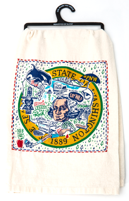 "A humorous look at the Evergreen State in this 28"" square dish towel made from 100% cotton.  Partially embroidered around picture."