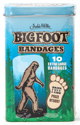 "Bigfoot Bandages,  Ten 3"" x 1-1/2"" sterile bandages, 3-3/4"" tall metal tin.  Includes a free prize."