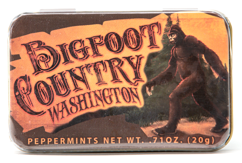 "Bigfoot Peppermints in a 3.25"" x 2"" x .5"" decorative tin"