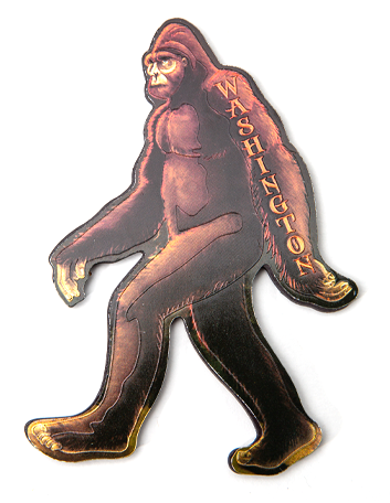 "Bigfoot shaped, sheen magnet, 5"" x 3"""