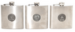 Stainless steel, hip flask with your choice of medallion 6oz.