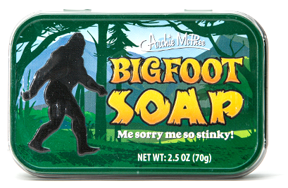 "Bigfoot Soap, unscented 2.5 oz. bar of soap, Bigfoot's silhouette debossed on top and comes in a fancy 3-3/4"" x 2-1/2"" x 3/4"" tin"