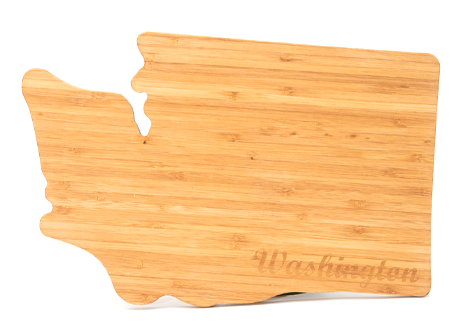 Bamboo Cutting Board  in the shape of Washington.  14 x 9 x .5 inches