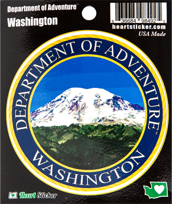 "Dept of Adventure 3.5"" round sticker"