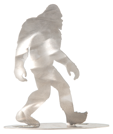 "Bigfoot Walking Stand-up, Metal Art, Laser-cut stainless steel. Designed to be bent and it becomes a desktop stand-up display 7"" x 5"""