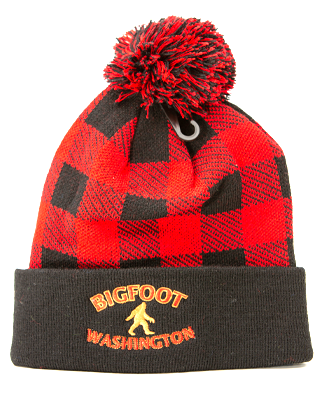 Bigfoot, Red and black plaid acrylic stocking hat with pom