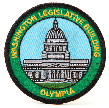 "colorful 3"", capitol patch, sew on"