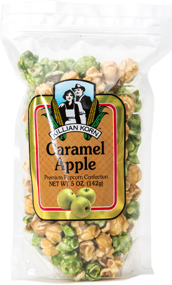 Green apple and premium caramel popcorn, harvest party or just a snappy snack, 5oz.