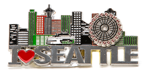 "I love Seattle! Spinning Magnet, with moveable Great Wheel.  2.75"" x 1.75"""