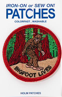 "Colorful 2.5"" Bigfoot patche depicting the forest,  Iron-on or sew on"