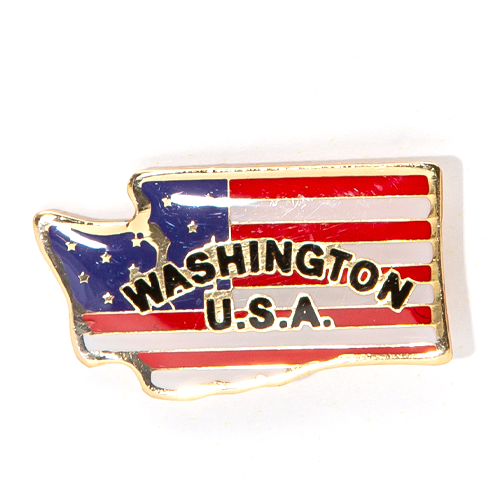 Washington Shape US Flag Pin