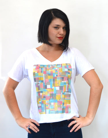Geometric V-Neck Boxy and flowy fit Vintage Style T-shirt