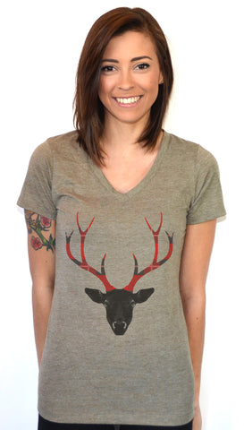 Plaid Antlers V-neck T-shirt