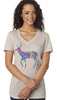 Feather Deer V-neck T-shirt