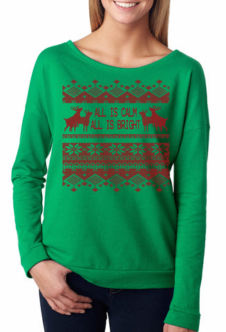 All is Calm Ugly Christmas Sweater French Terry
