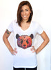 Geometric Panda V-neck T-shirt