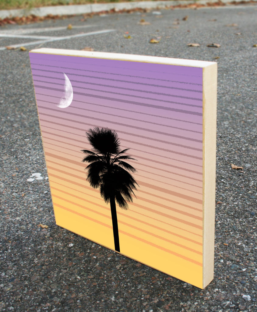 Palmetto Moon Wood Block Graphic Art Print 8x8