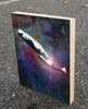 Whales in Space Wood Block Graphic Art Print 8x10