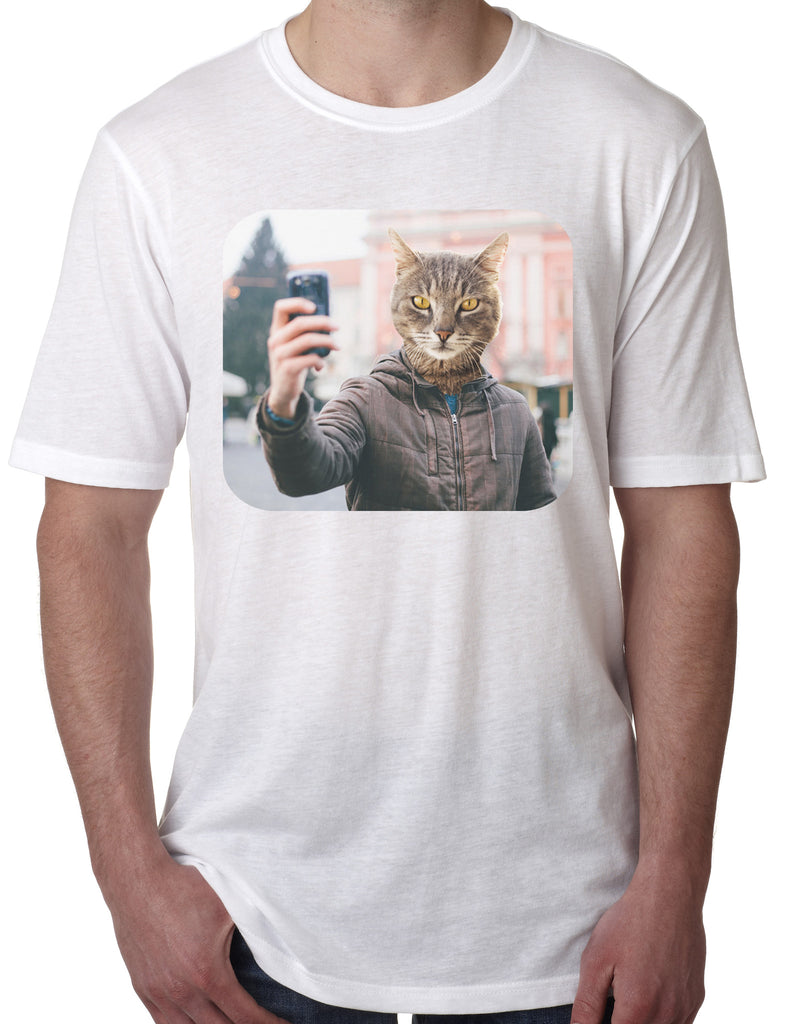 Artisan Tees Selfie Cat T Shirt Men s Fitted Heather Graphic Tee