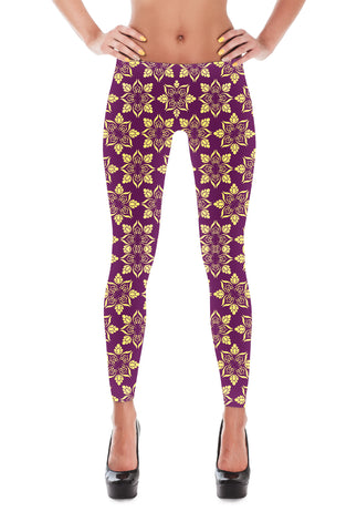 Purple Floral Leggings