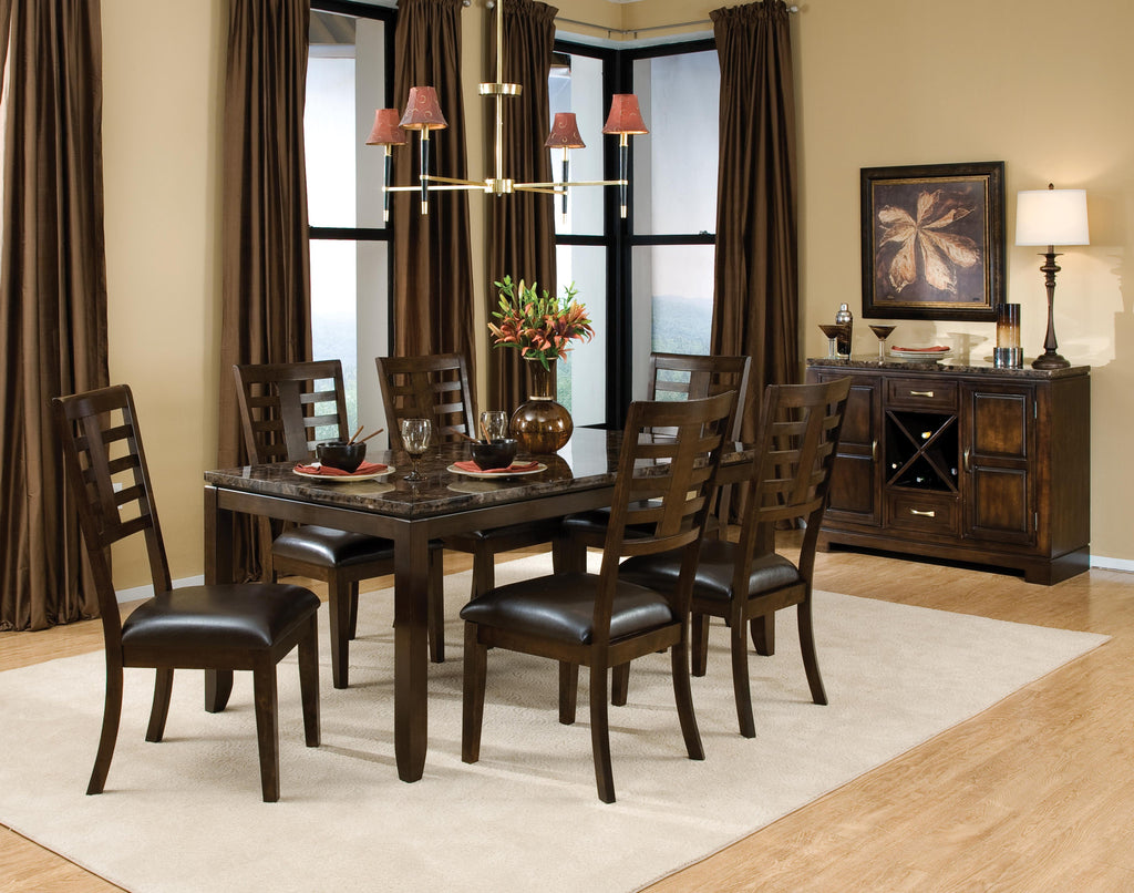 The Bella Dining Room Table Faux Marble Top In Chocolate Offers