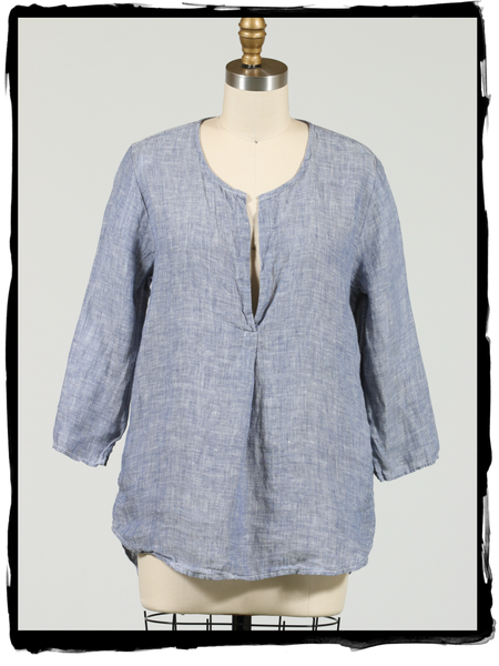 CP Shades, Pascal Top in Blue Chambray Linen