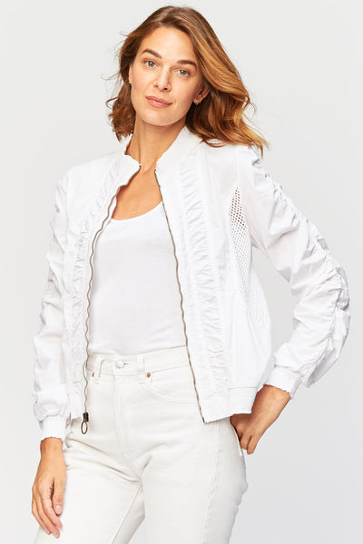 XCVI Orrick Bomber Jacket (Woven Cotton) {White}