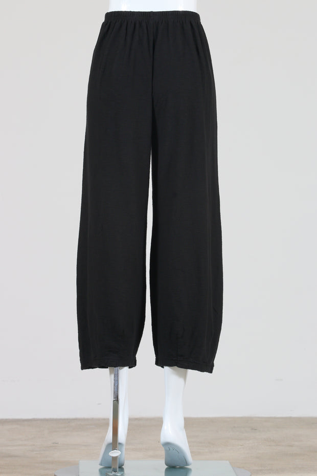 Cut Loose Cropped Pants with Darts (Cotton Linen Knit) Black