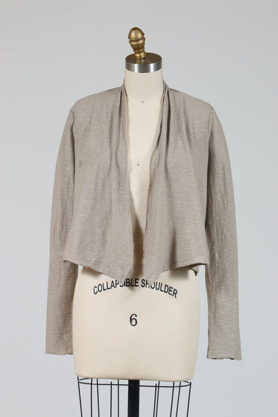 Cut Loose Cropped Cardigan (Cotton Linen Knit) Rye