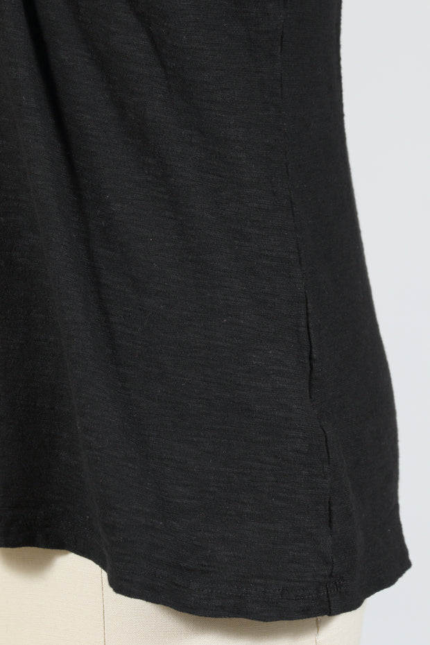 Cut Loose Tuck Front Tee, Short Sleeve (Cotton Linen Knit) {Black/White}