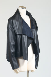 PLANET by Lauren G. Cropped Asymmetrical Jacket (Vegan Leather)
