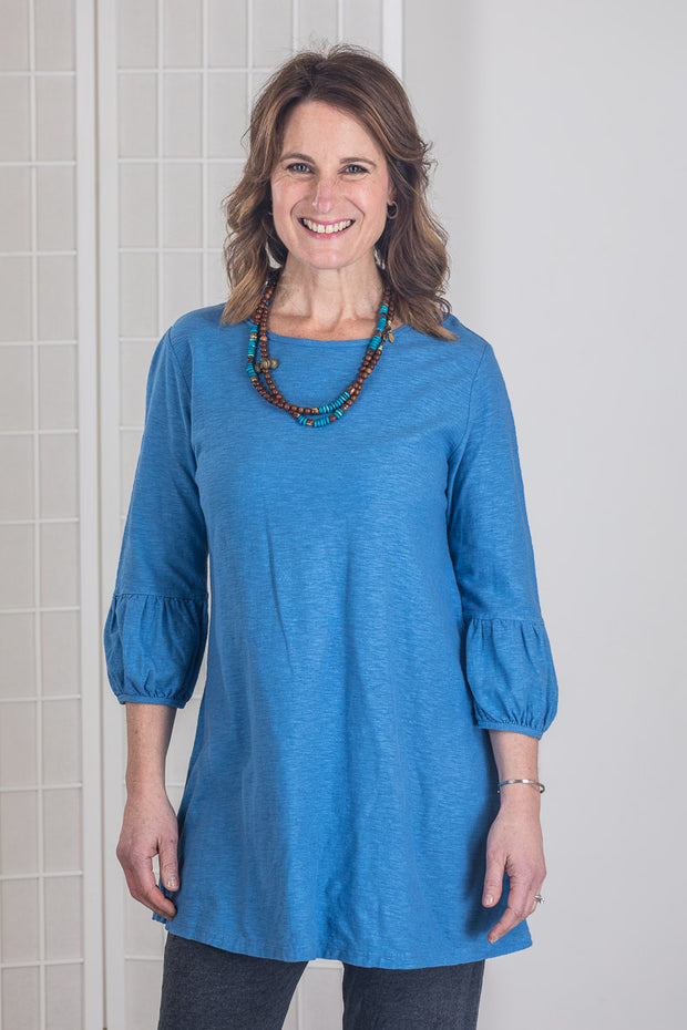 Cut Loose Bubble Sleeve Tunic (Cotton Linen Knit) Multiple Colors