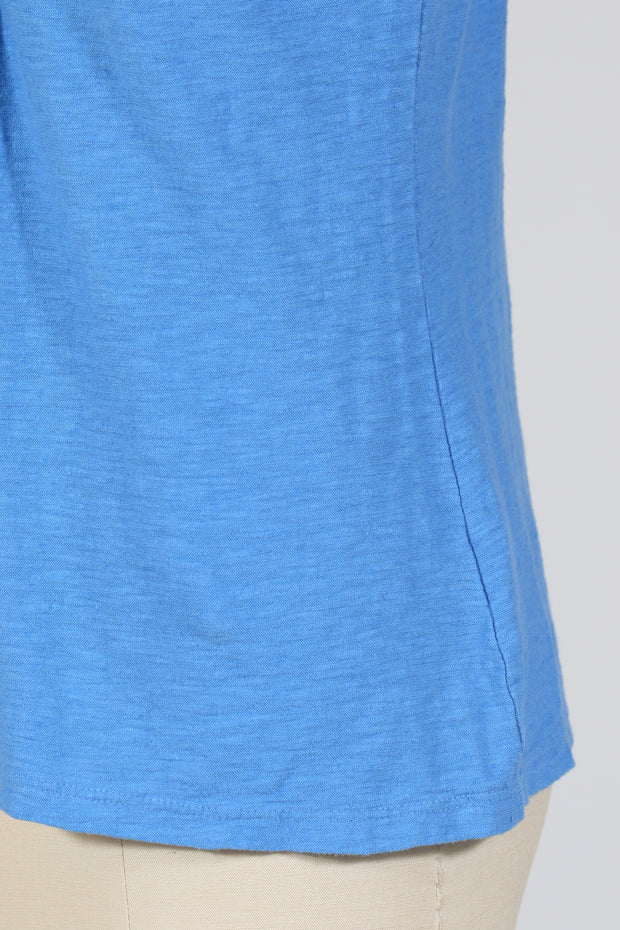 Cut Loose Tuck Front Tee, Short Sleeve (Cotton Linen Knit) Multiple Colors