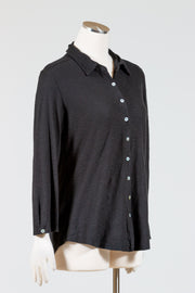 Cut Loose 3/4 Sleeve Button Shirt (Cotton Linen Knit) {Black/White}