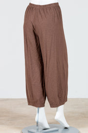 Cut Loose Cropped Pants with Darts (Cotton Linen Knit) Multiple Colors